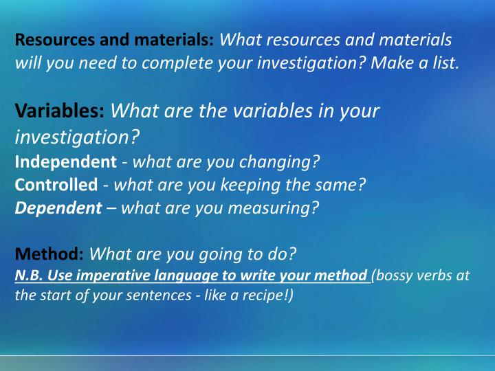 Resources and materials: