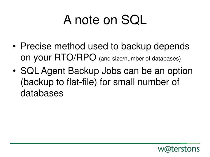 A note on SQL