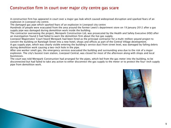 Construction firm in court over major city centre gas scare