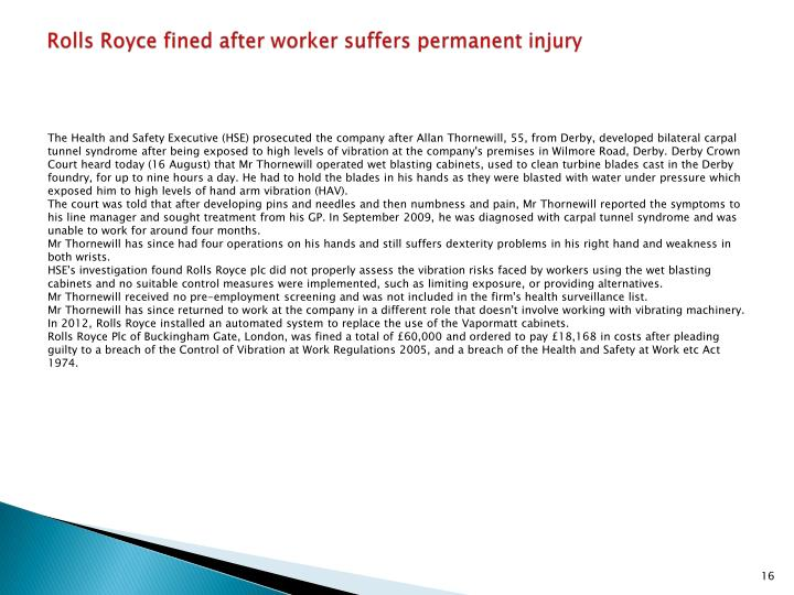 Rolls Royce fined after worker suffers permanent injury