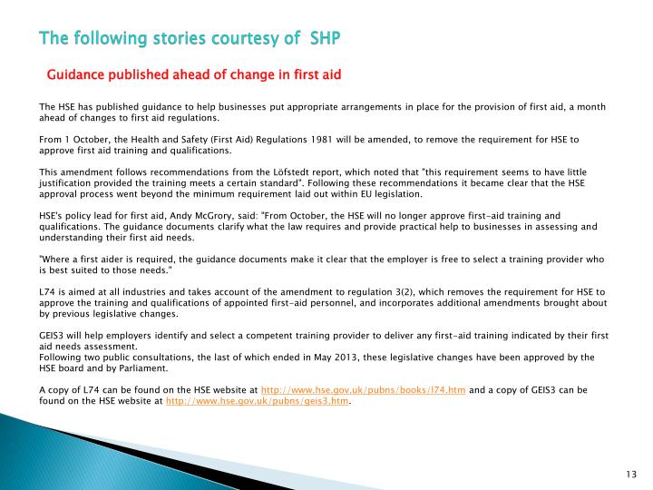 The following stories courtesy of  SHP