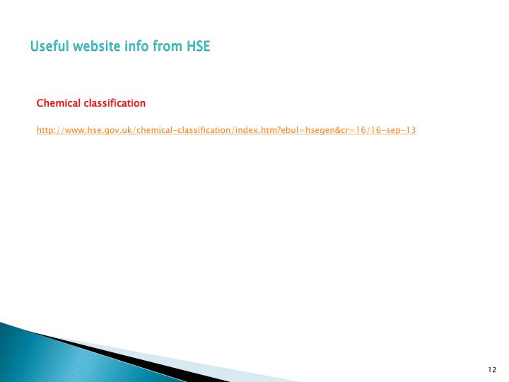 Useful website info from HSE