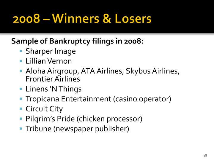 2008 – Winners & Losers
