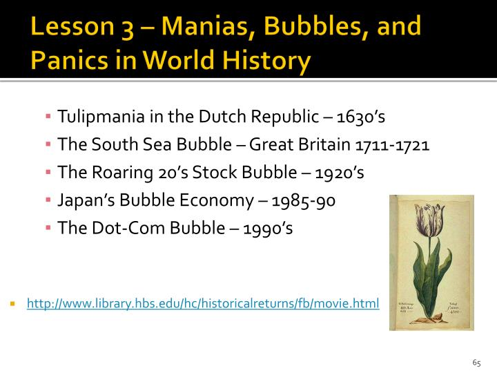 Lesson 3 – Manias, Bubbles, and Panics in World History