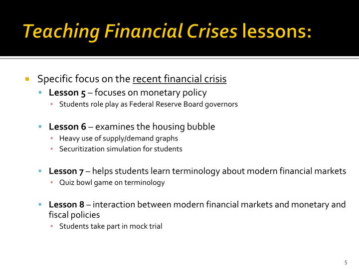Teaching Financial Crises