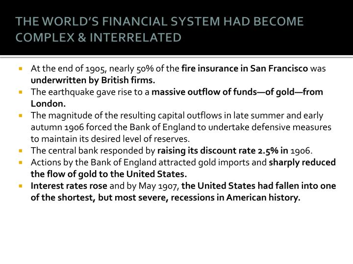 THE WORLD'S FINANCIAL SYSTEM HAD BECOME COMPLEX & INTERRELATED
