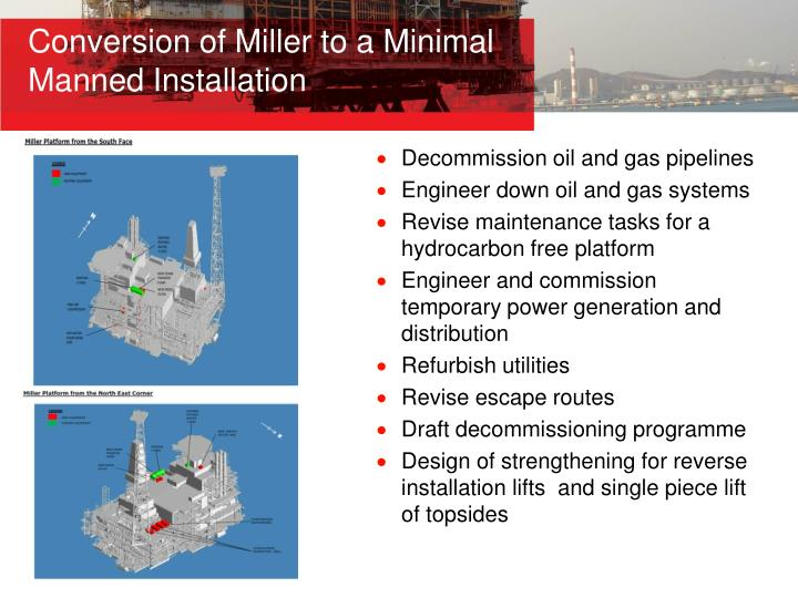 Conversion of Miller to a Minimal Manned Installation