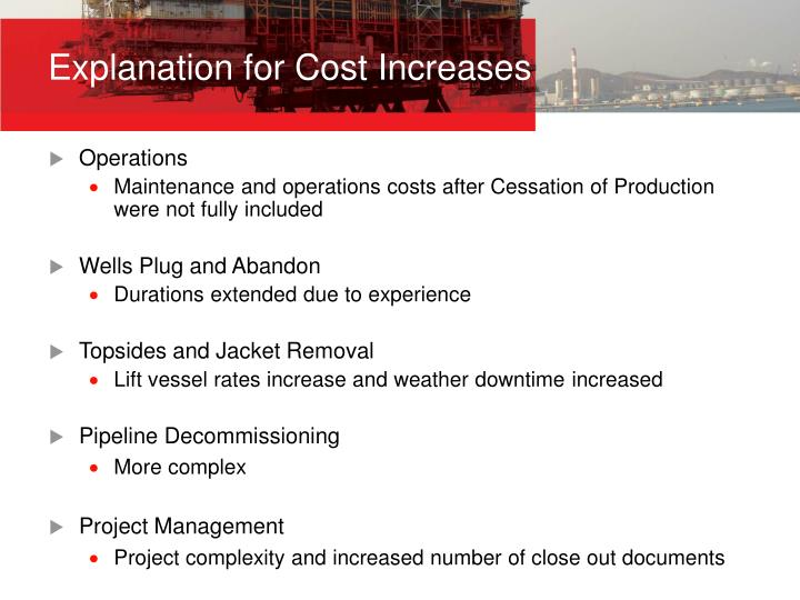 Explanation for Cost Increases