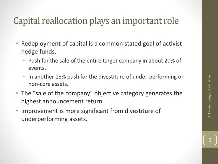 Capital reallocation plays an important role