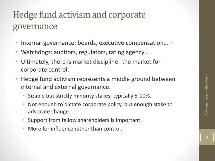 Hedge fund activism and corporate governance