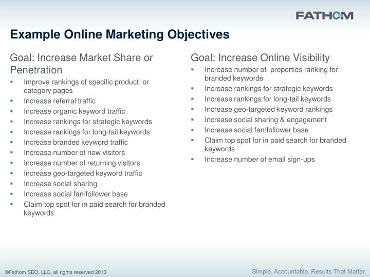 Example Online Marketing Objectives