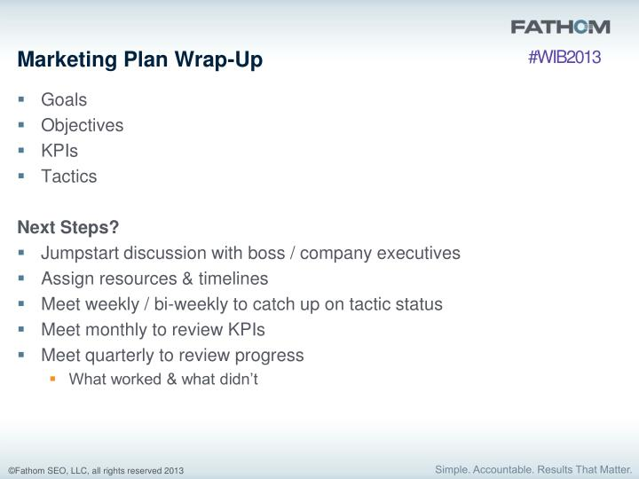 Marketing Plan Wrap-Up