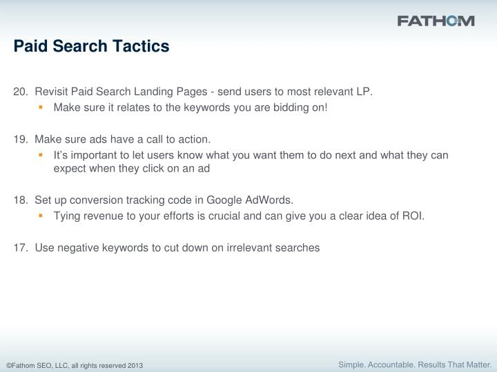 Paid Search Tactics