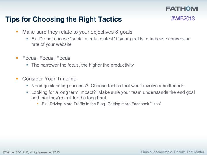 Tips for Choosing the Right Tactics