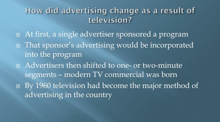 How did advertising change as a result of television?