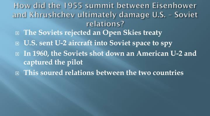 How did the 1955 summit between Eisenhower and Khrushchev ultimately damage U.S. – Soviet relations?