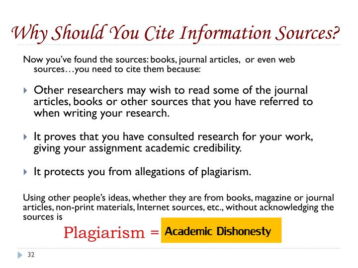 Why Should You Cite Information Sources?