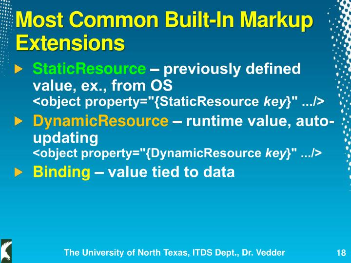 Most Common Built-In Markup Extensions
