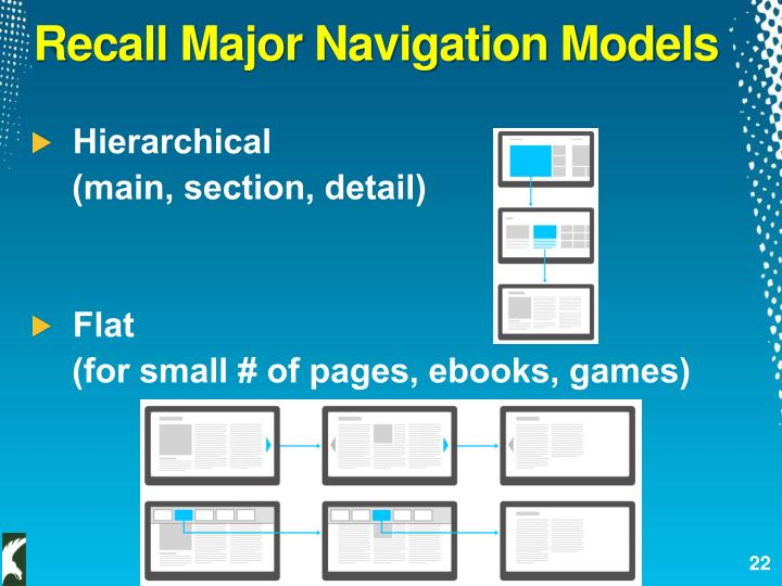 Recall Major Navigation Models