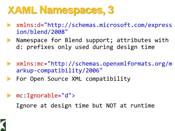 XAML Namespaces, 3