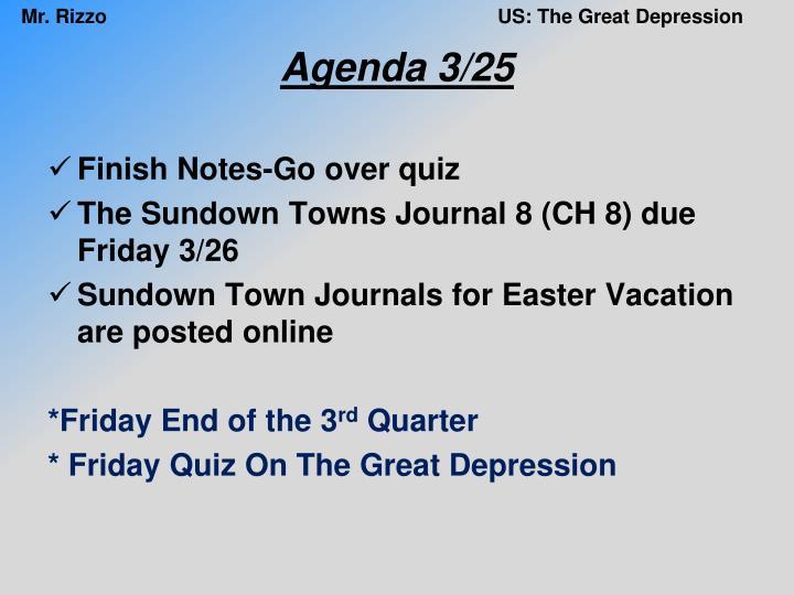 Agenda 3/25