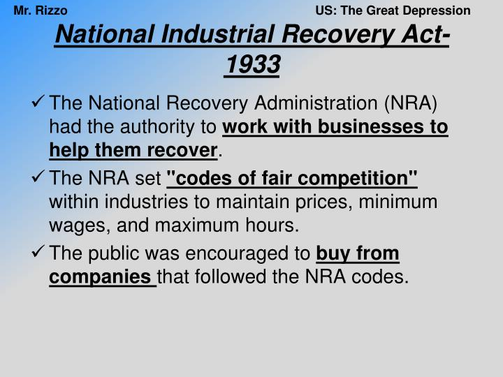 National Industrial Recovery Act-1933
