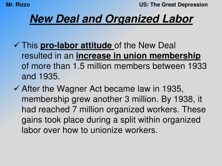 New Deal and Organized Labor