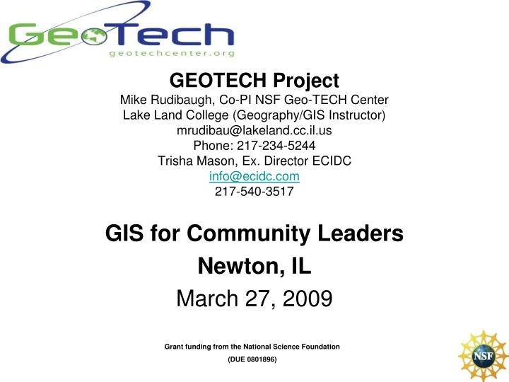 Gis for community leaders newton il march 27 2009