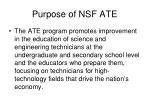 purpose of nsf ate