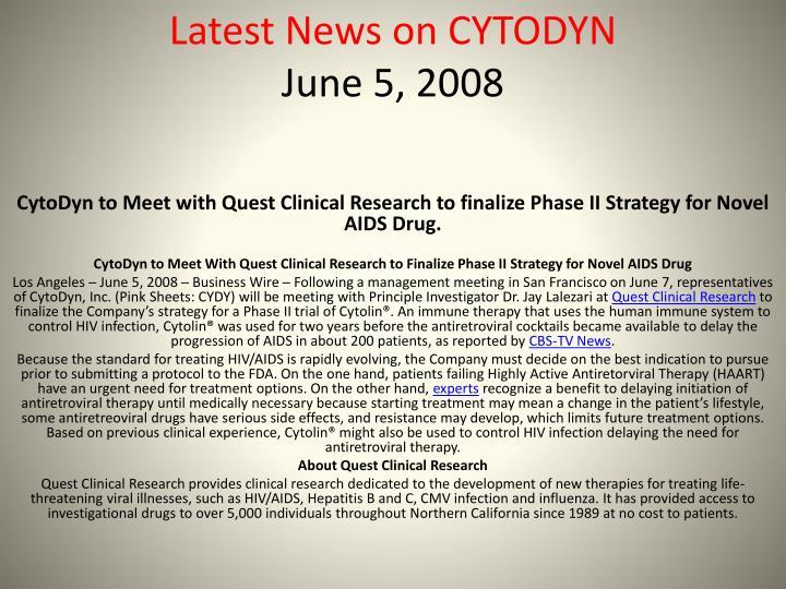 Latest News on CYTODYN