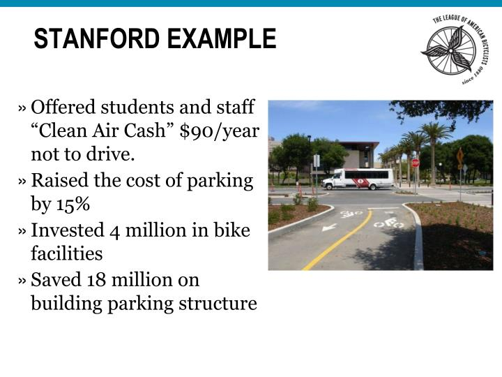 "Offered students and staff ""Clean Air Cash"" $90/year not to drive."