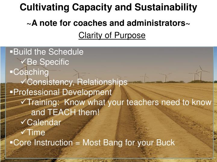Cultivating Capacity and Sustainability