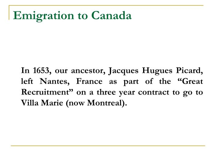 Emigration to Canada