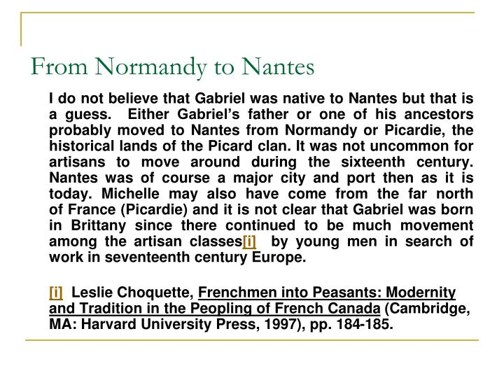From Normandy to Nantes