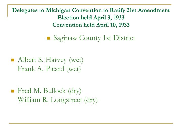 Delegates to Michigan Convention to Ratify 21st Amendment
