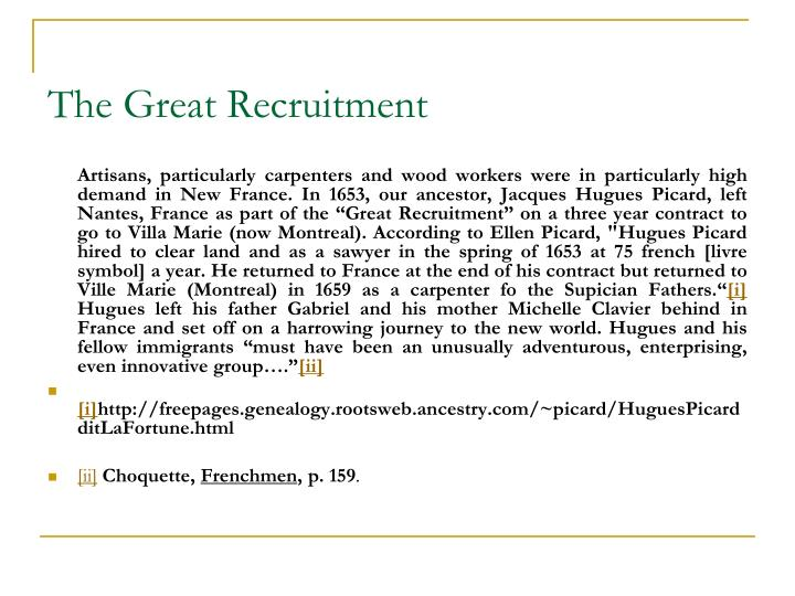The Great Recruitment
