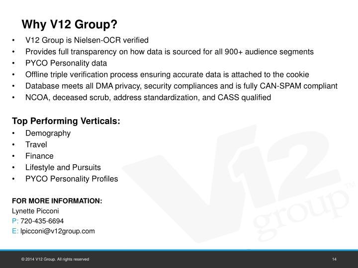Why V12 Group?