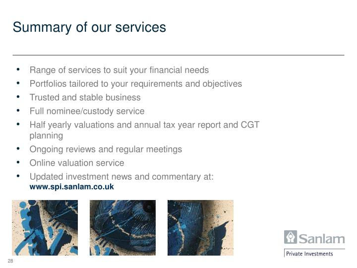 Summary of our services