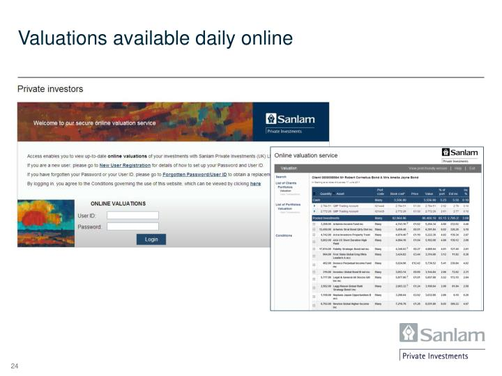 Valuations available daily online