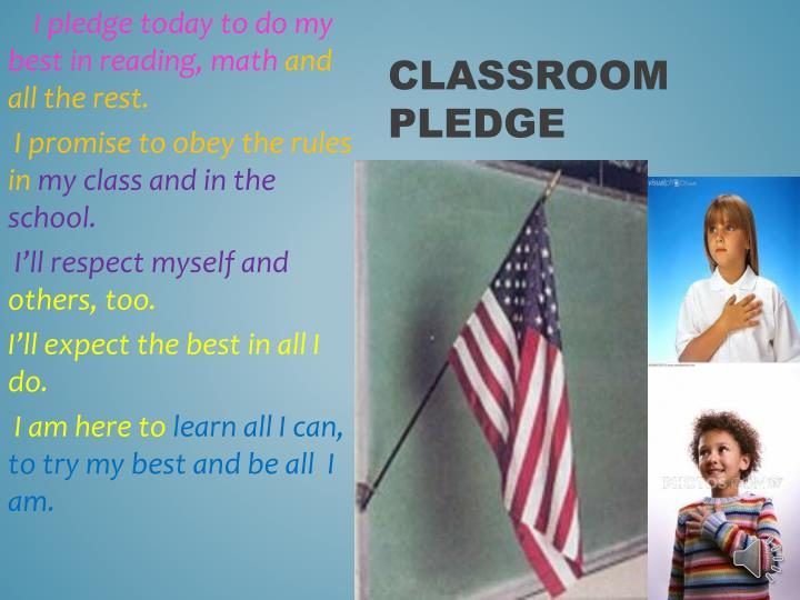 I pledge today to do my best in reading, math