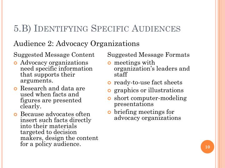 5.B) Identifying Specific Audiences