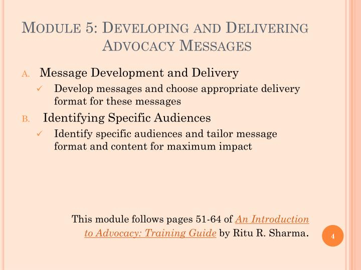 Module 5: Developing and Delivering
