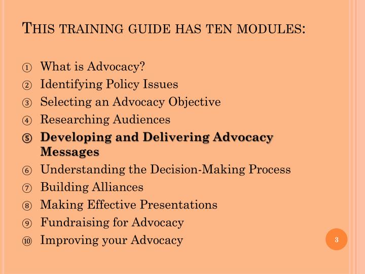 This training guide has ten modules: