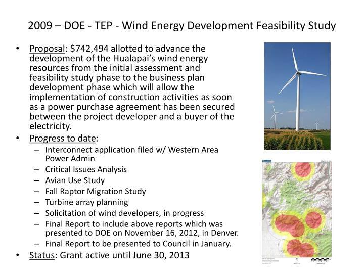 2009 – DOE - TEP - Wind Energy Development Feasibility Study
