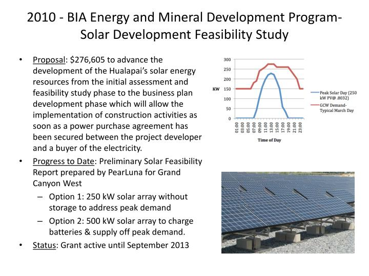2010 - BIA Energy and Mineral Development Program- Solar Development Feasibility Study