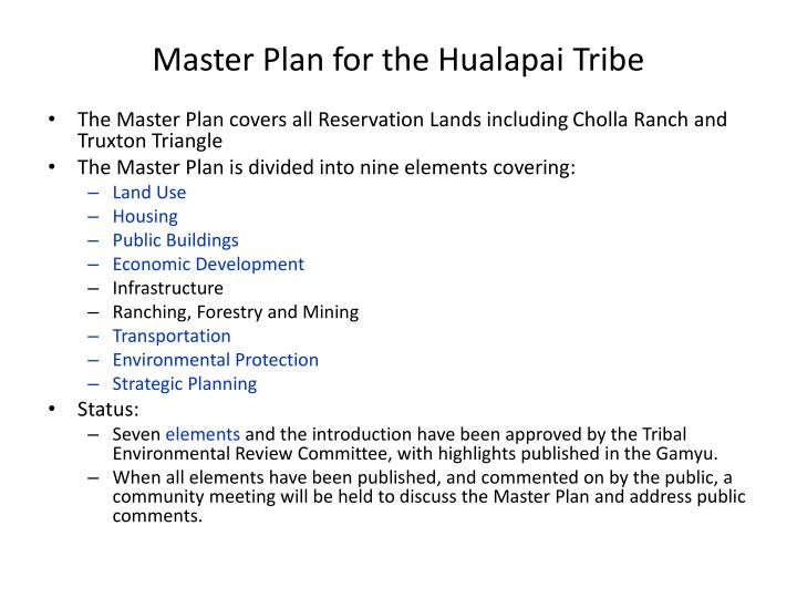 Master plan for the hualapai tribe