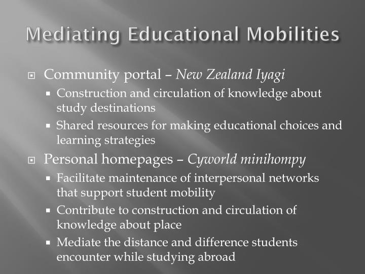 Mediating Educational Mobilities