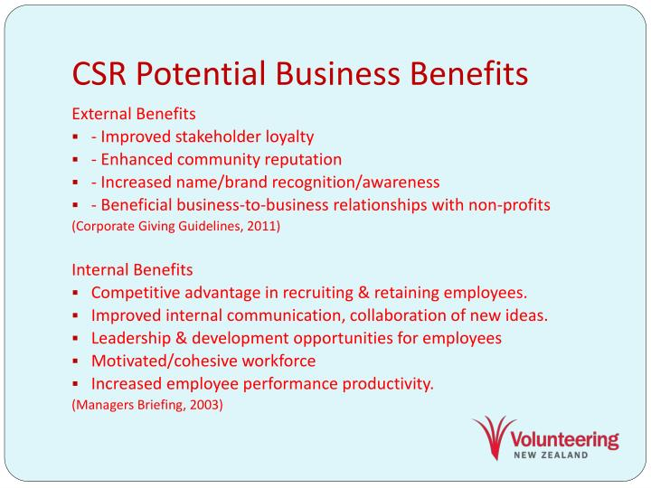 CSR Potential Business Benefits