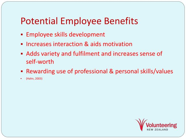 Potential Employee Benefits