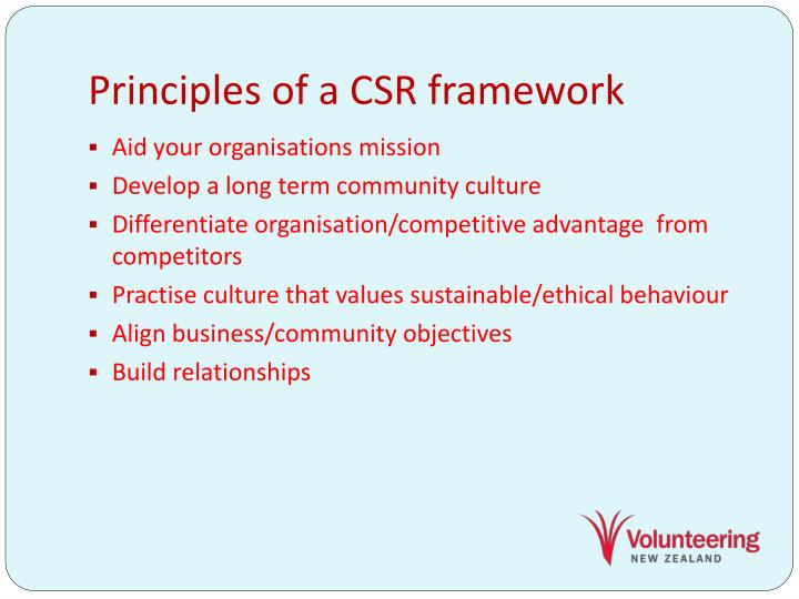 Principles of a CSR framework
